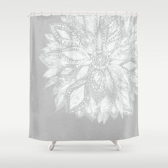 This is a shower curtain with my design printed on it. <> If you would like another color, send me a message.  The shower curtain has a 12 button-hole top, making it easy to hang. It is 100% polyester and printed in the USA. Size: 71x74  Care:  - Machine wash and dry  Please note: Shower curtain liner, curtain rod, and hooks are not included.  Modern Flower Shower Curtain, grey shower curtain, gray shower curtain, grey white curtain, flower curtain, grey floral curtain