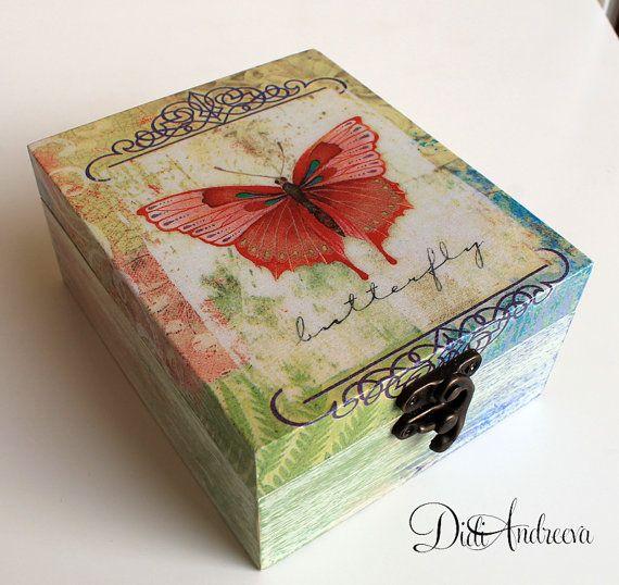 Wooden jewelry box, decoupage box, shabby chic box, butterfly, decoration, home decoration, box, handmade, Punch Studio napkins, vintage
