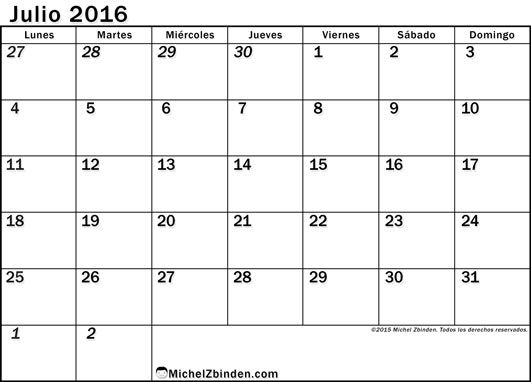 Calendario Julio 2016 Chile