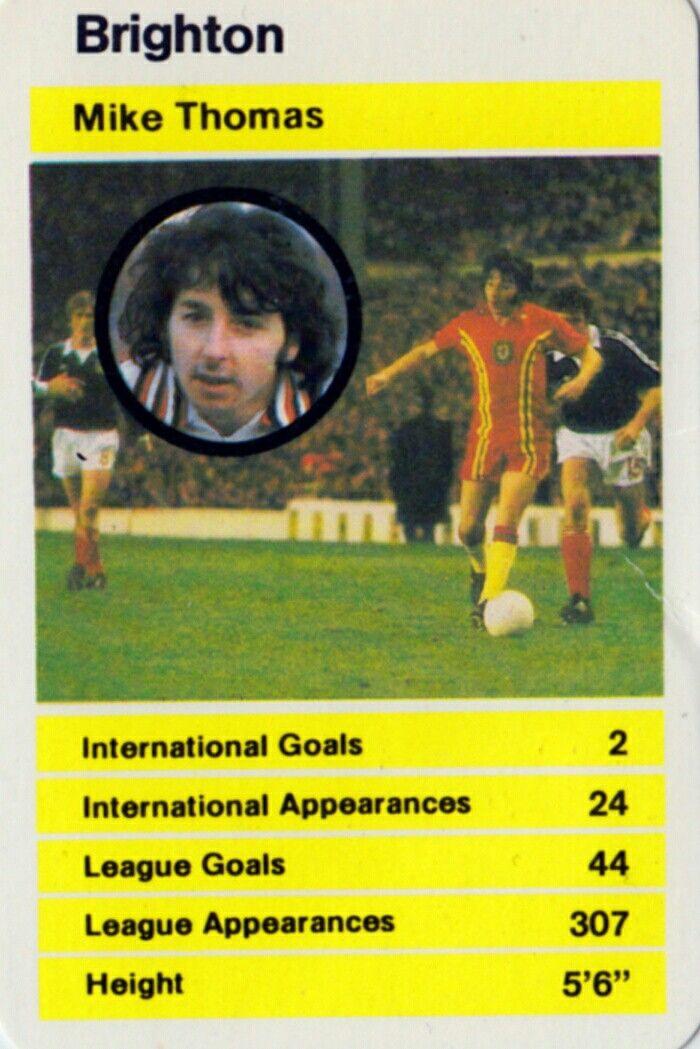 Mickey Thomas of Brighton & Wales. 1979 Top Trump's card.
