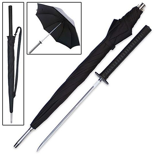 Sword Umbrella!  trueswords.com/sword-cane-samurai-katana-umbrella-hidden-blade-p-5595.html
