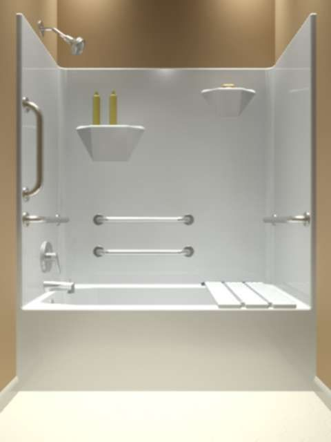 One piece whirlpool tub and shower units 60 x 31 x 75 for 4 piece bathroom ideas