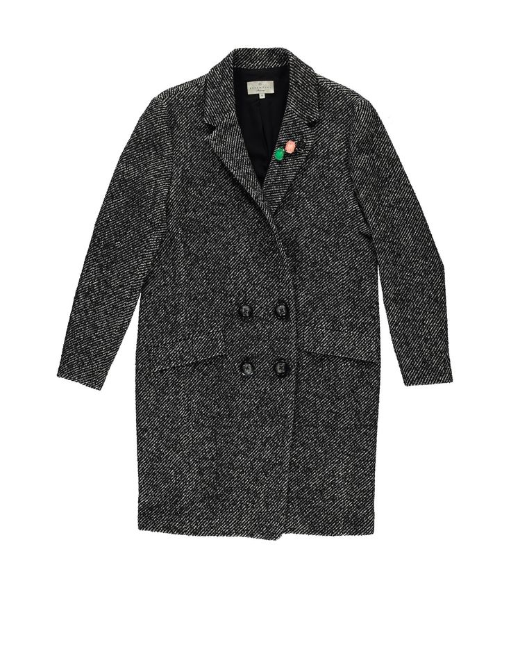 Hector1 coat. Classic coat with felted undercollar and brooches to add some dazzle. #loveisessentiel
