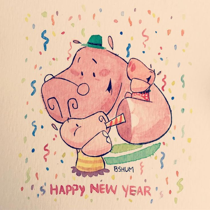 Hope everybody has a great and safe New Year! #happynewyear #2017 #nye #hollythehippo #hippo #bensonshum #family #friends #love #celebration #happynewyears #holly #dad #sisters #art #watercolor #illustration #kidlitart #kidlit #cute #character #holiday #childrensbook #childrensbookillustration #sketch #art #artist #drawing #animal
