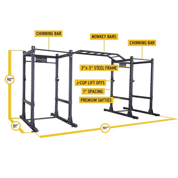 """SPR1000DB - Commercial Double Power Rack Package - Body-Solid Fitness    Each of these power racks feature a 3"""" x 3"""" 11-gauge steel mainframe and 1000 lb weight capacities meaning they will hold up even through the most strenuous of workouts. The SPR1000's are 90"""" tall which is perfect for chin-ups, standing shoulder presses and many other exercises that are compromised on shorter, competitive power racks."""