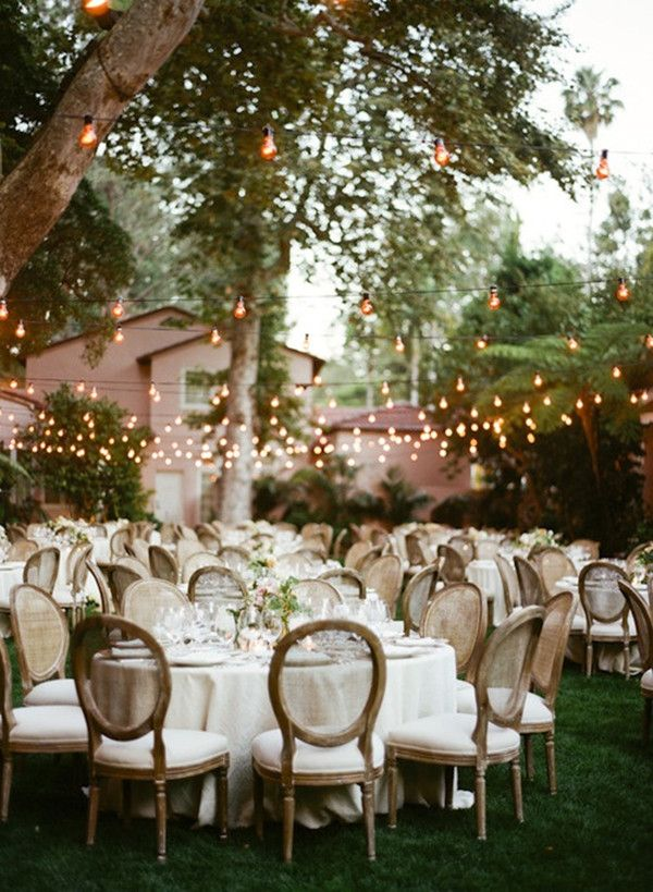 Country rustic outdoor backyard wedding ideas with lights for Decorating ideas for outdoor engagement party