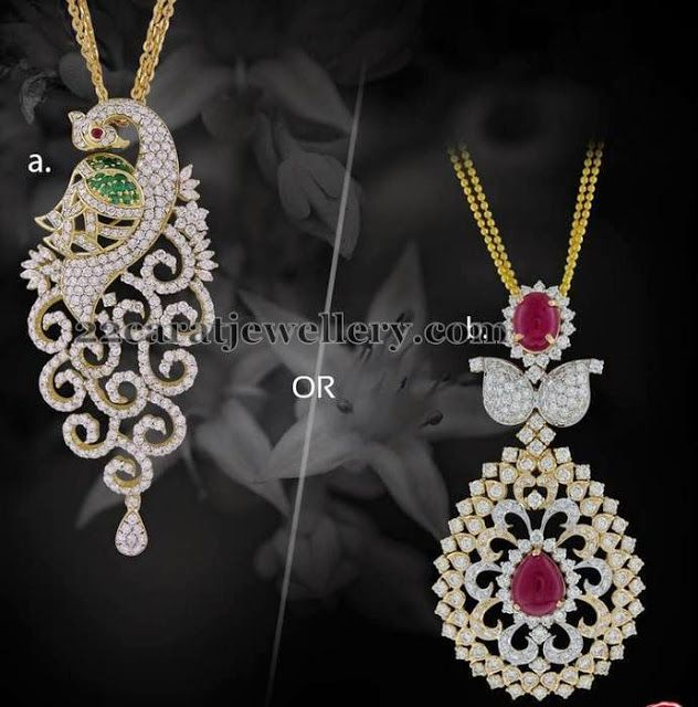 Jewellery Designs: Latest Diamond Pendants by Kirtilals