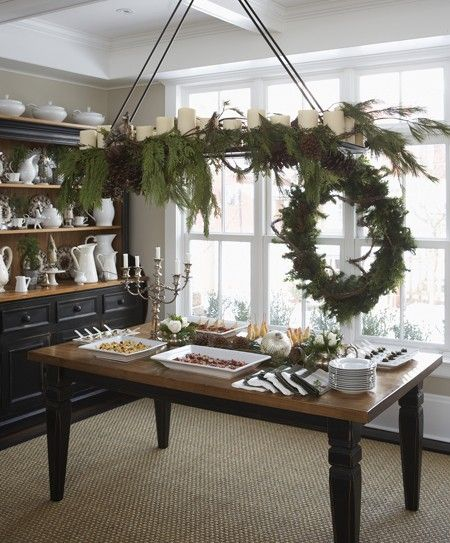 Christmas Dinner Buffet Style, or a Christmas Party Drop-in, this table with it's arbor of greenery and candles is outstanding!  South Shore Decorating Blog: Gorgeous Holiday Wreaths