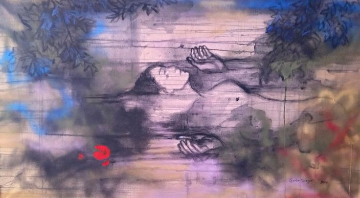 """""""Ophelia"""" Acrylic and spray paint on a rough unboard canvas 78 x 138 cm July 2016"""
