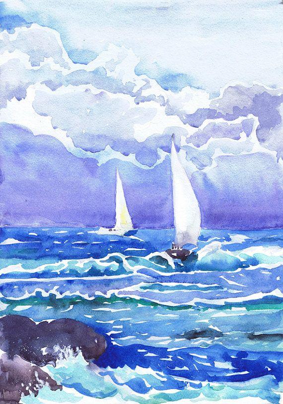 Aquarel zee Art Print, aquarel landschap, lucht, nautische prenten, Seascape schilderij strand kunst Oceaan kunst, Sail boot Blue Cloud Storm