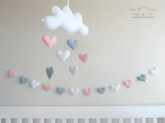 Custom Listing for Laura - colours as discussed  Perfect for a little girls nursery or bedroom, this pretty mobile and garland set will add that touch of whimsy. It would make the perfect baby shower or new baby gift.  GARLAND This pretty plump heart bunting can be hung almost anywhere! Made up of 9 or 12 large plump hearts in marshmallow pink, soft white and light grey. Squished together or spaced apart, there is 2m sheer white ribbon with a button either end so you can easily adjust…