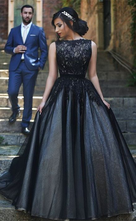 Elegant Sleeveless Tulle Black A-line Evening Dress Lace Appliques from www.27dress.com