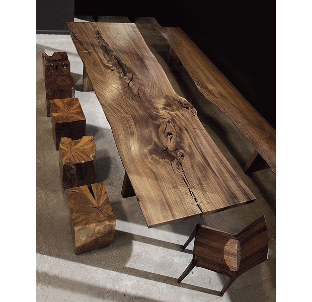 Table contemporaine en bois de r cup ration d 39 homme la mer english - Table bois contemporaine ...