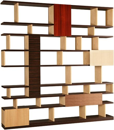 BABILONIA, double faced freestanding bookcase made of wengè and ash woods. Five container elements with doors made of makassar ebony, paddock, maple, walnut and cherry
