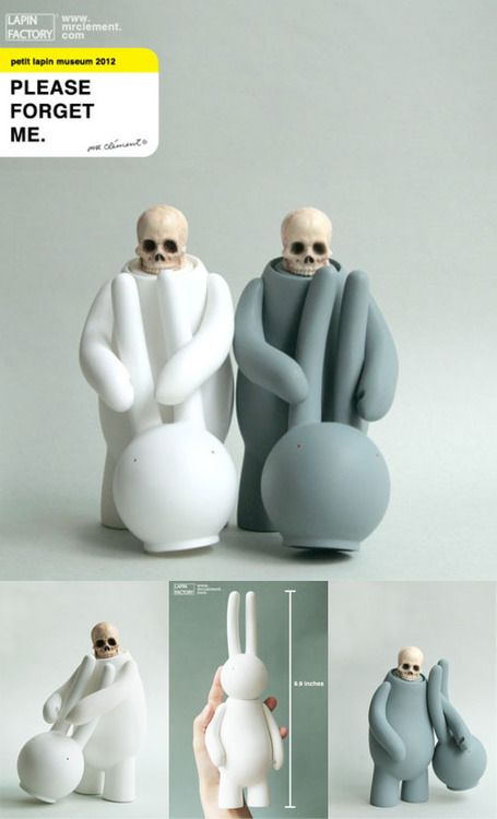 """Vinyl art toy figures by Mr. Clement titled """"Please Forgive Me""""."""