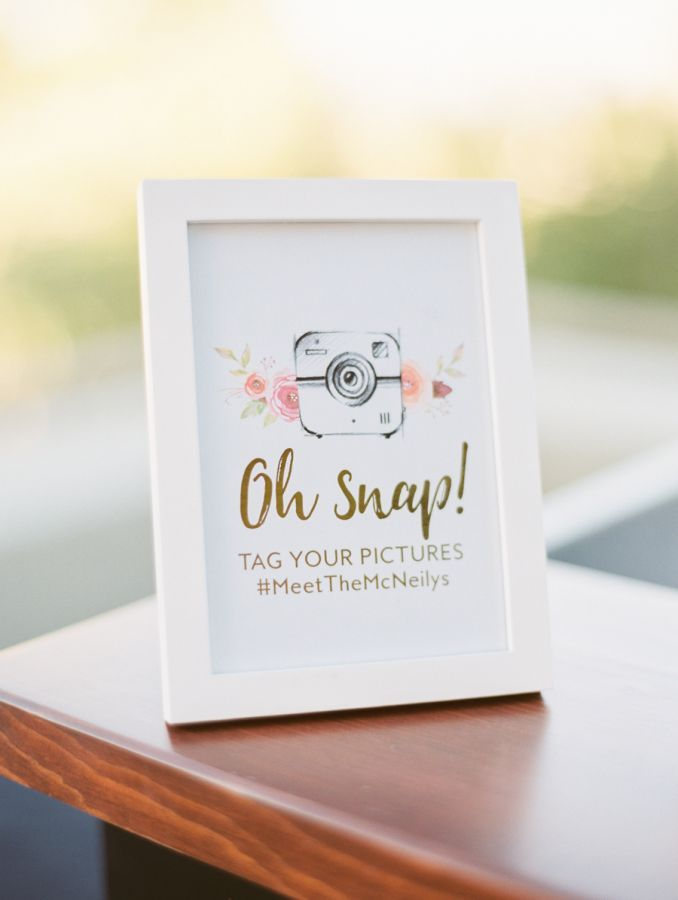 Interactive Instagram sign: http://www.stylemepretty.com/arizona-weddings/paradise-valley/2017/01/16/desert-sunset-wedding/ Photography: Rachel Solomon - http://rachel-solomon.com/