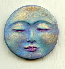 For your consideration, an abstract painted polymer clay peaceful moon face cab. It has been washed with several colors and highlighted with gold metallic. It measures 1 3/8 long x 1 3/8 wide. Flat on the back and undrilled for glue on work. It has been sealed with an acrylic sealer. Great for an Art Doll Face, Assemblage, Altered Art.  International buyers I will return any overage you pay for shipping to you.. See my other items too, and thanks for looking
