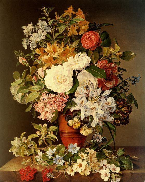 Paintings Reproductions Koudelka-Schmerling, Pauline von Stilleben Mit Blumen [Still life with flowers], 1839