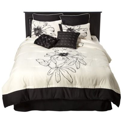 floral 8 piece bedding set black white nyc condo pinterest bedding sets the white and. Black Bedroom Furniture Sets. Home Design Ideas
