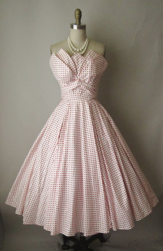 "1950's Fred Perlberg Strapless Dress with interesting ""handkerchief"" bodice details."