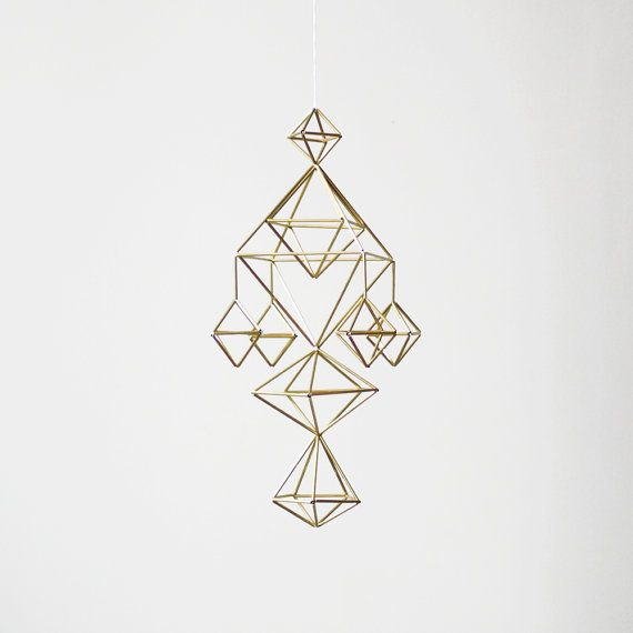 Brass Himmeli no. 6 / Modern Hanging Mobile / Geometric Sculpture