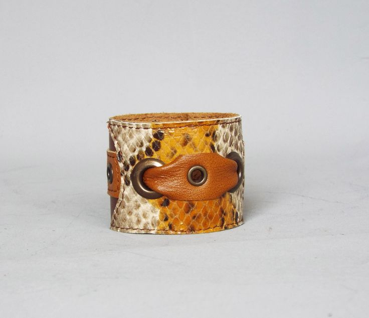 Woman leather cuff, leather bracelet, brown snake leather cuff. | 5plus