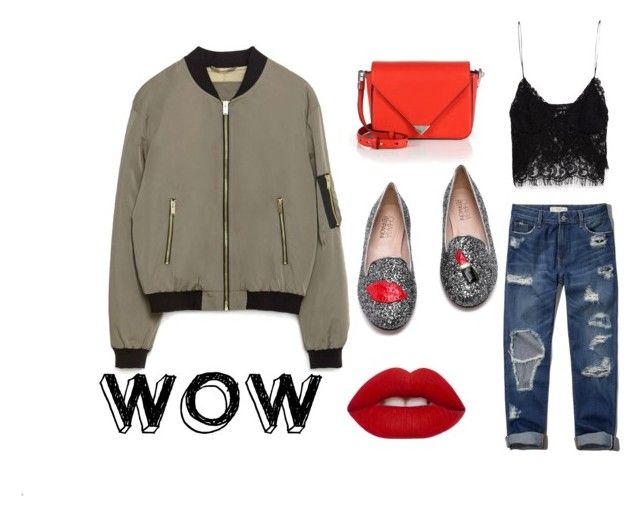 BOMBER 4 by patrycja-bobek on Polyvore featuring moda, Zara, Abercrombie & Fitch, Chiara Ferragni, Alexander Wang and Lime Crime