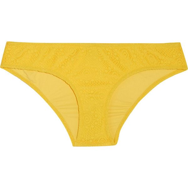 Heidi Klein Low-rise crocheted-lace bikini briefs ($62) ❤ liked on Polyvore featuring bright yellow, bandeau bikini top and bandeau tops