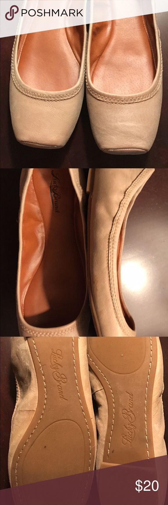 Lucky brand tan ballet flats Like new! Size 10 lucky brand ballet flats with square toe. Only worn three times. Lucky Brand Shoes Flats & Loafers
