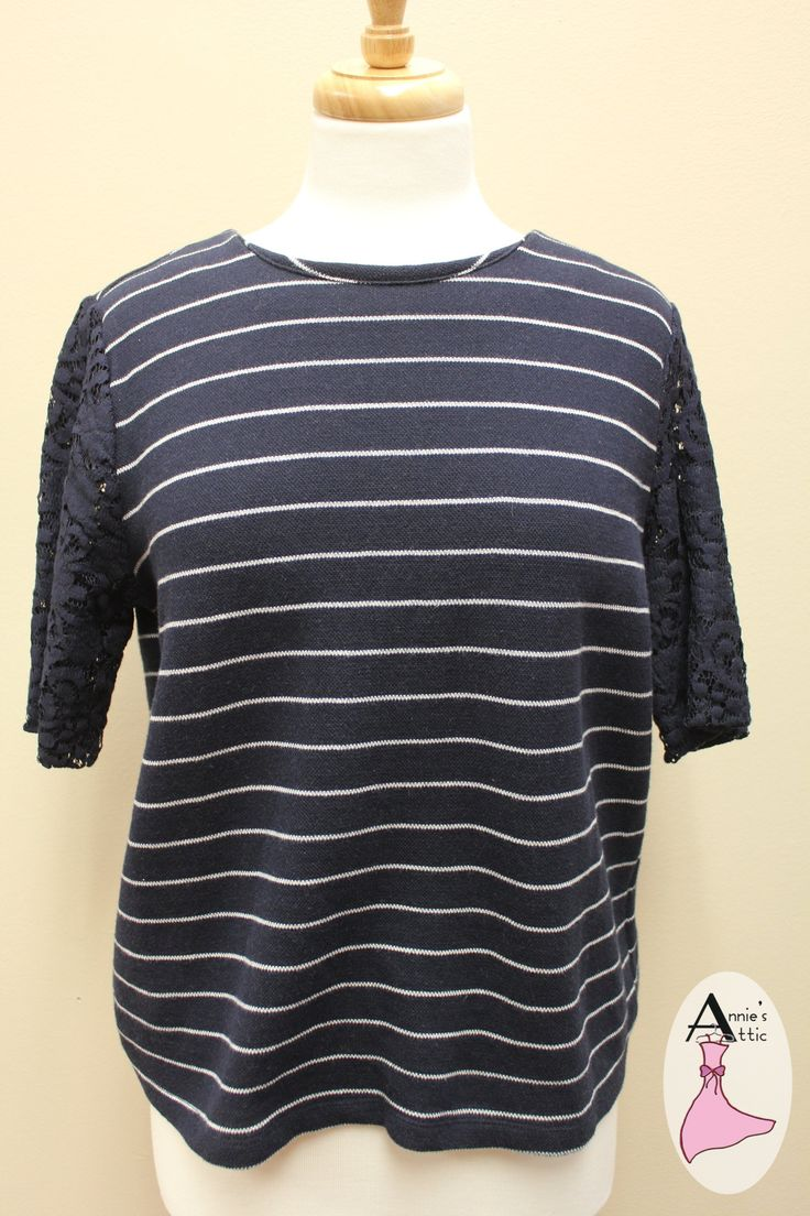 Ann Taylor LOFT cute sweater begs for white jeans! Ann Taylor LOFT navy stripe sweater Size medium, zips up the back Pretty lace short sleeves http://stores.myresaleweb.com/annies-attic/item/ann-taylor-loft?id=30538