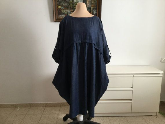 long Denim Dress,plus size,Oversize 3XL-4XL-5XL,boho,Lagenlook,Plus Size Clothing,Trendy plus size clothing