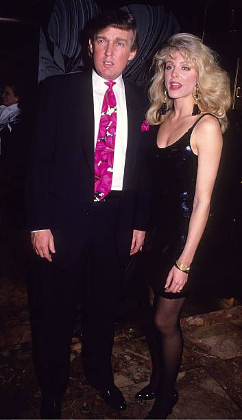 Donald Trump and Marla Maples during Donald Trump and Marla Maples at Trump Plaza for Evander Holyfield vs George Foreman Fight April 19th 1991 at...