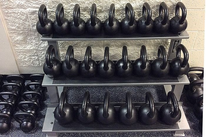 Heavy duty 3 tier kettlebell rack holds your heaviest kettlebells
