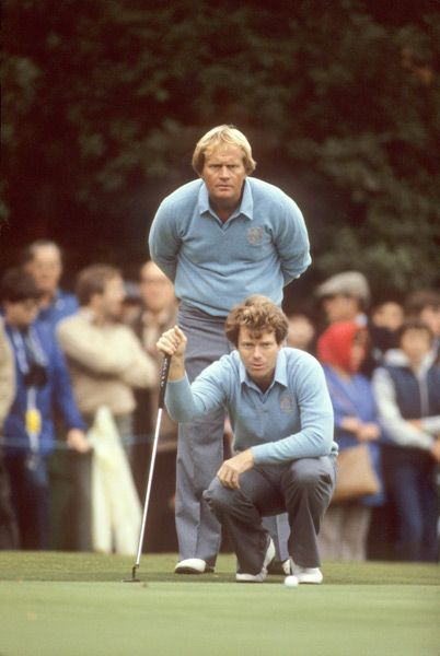 Jack Nicklaus and Tom Watson finished with a 3-0 record as a team at the 1981 Ryder Cup at Walton Heath. The U.S. defeated Europe, 18 1/2 - 9 1/2.  (Credit: Tony Duffy/SI)