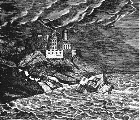 house fallen in sea during storm. engraving woodcut