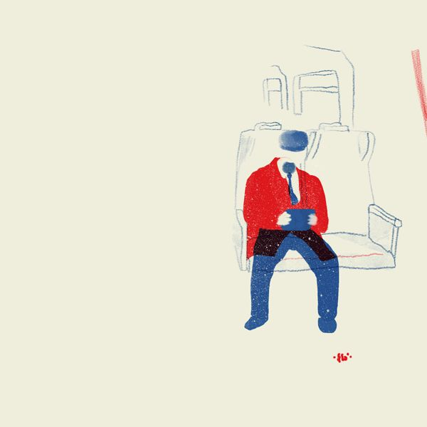 Il viaggiatore di fronte. Il piacione. #liker #surfing #illustration #train #commuter
