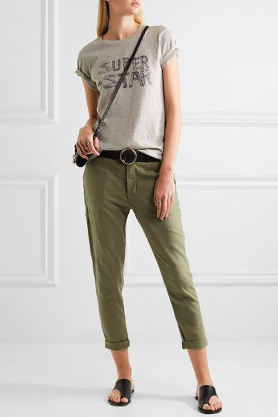 The Great - The Carpenter Cropped Twill Slim-leg Pants - Army green - 26