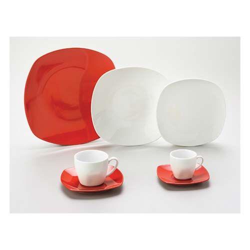 Aparelho De Jantar De Porcelana Quadrado 42Pcs Vermelho Mail Box 8005 - Lyor Classic