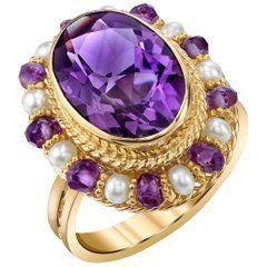 Amethyst 18 Karat Yellow Gold Filigree Ring with Pearls #YellowGoldJewellery