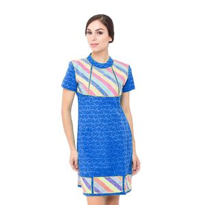 Batik Trusmi Dress Kombinasi Embos Cap Motif Rose Blue