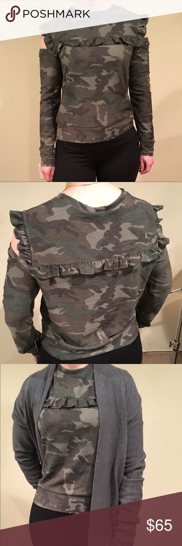 DREW olive / camo top w/ shoulder cutouts sz Med Cute long sleeve camo top by DREW with shoulder cutouts. Small ruffles across chest, shoulders, and and back. Kind of reminds me of a thin cozy fall sweater. Fits well under a thick cardigan. 🌼my measurements🌼 bust: 32B waist: 30 DREW Tops Blouses