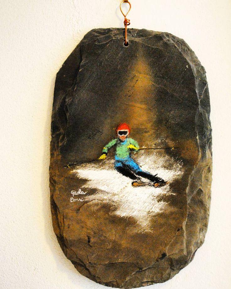 Sci - Tecnica mista su lastra di ardesia #ski #snow #ardesia #sci #artigianato #fattoamano #gessetti #arte #art #tecnicamista #sciare #redarte #paolaborri #inverno #winter