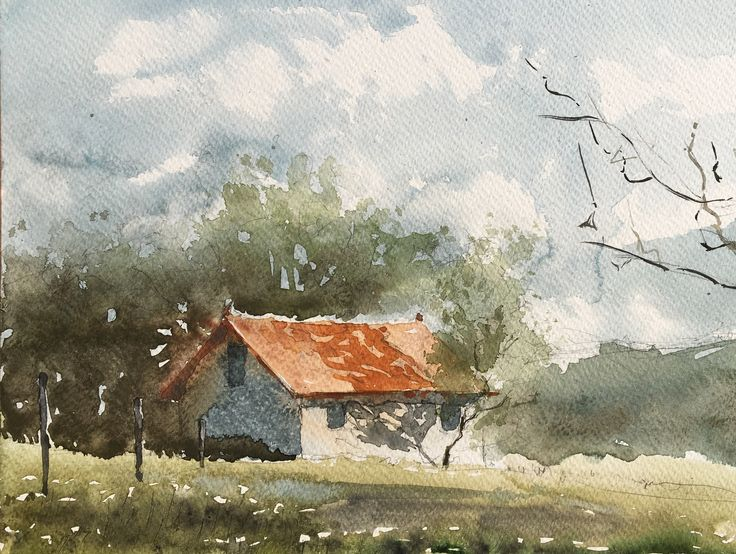House. Watercolor