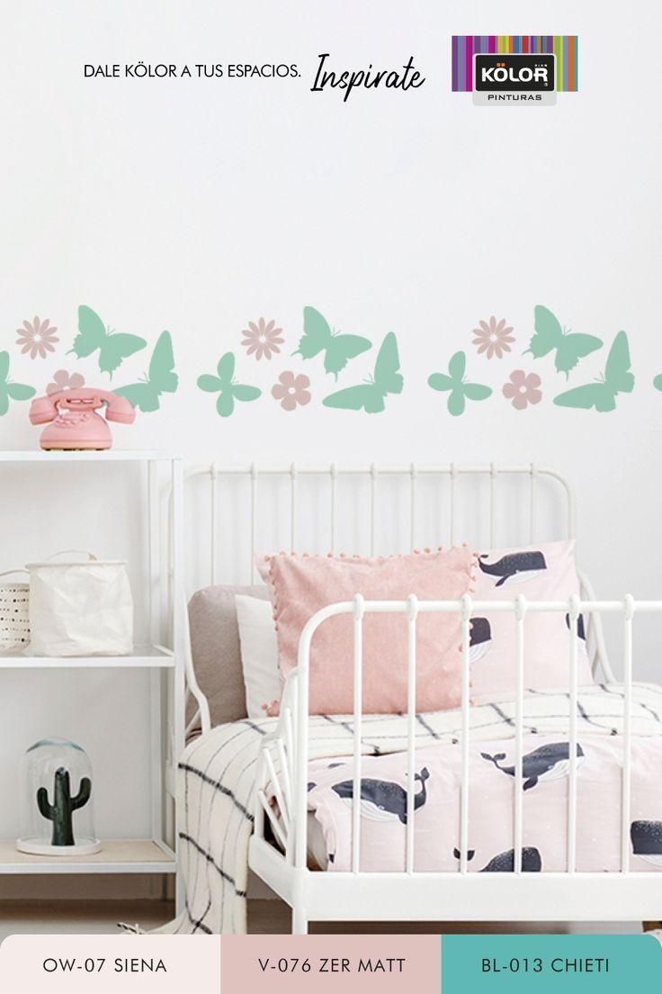 """Con simples toques de color podés lograr que las peredes tomen protagonismo y le den vida a la habitación infantil. Probá con nuestro stencil de flores y mariposas, repitiendo el patrón en forma horizontal para lograr un efecto """"guarda"""". Descargá la plantilla y encontrá, además, propuestas de color para una combinación perfecta. Descubrí las Pinturas Kölor y elegí entre más de 1.500 colores. Toddler Bed, Furniture, Home Decor, Shape, Child Room, Pop Of Color, Proposals, Kids Rooms, Template"""