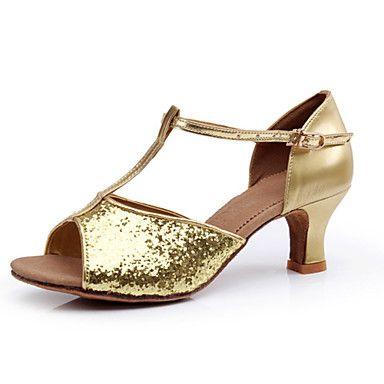 Non Customizable Women's Dance Shoes Latin/Ballroom Paillette Stiletto Heel Silver – USD $ 12.99