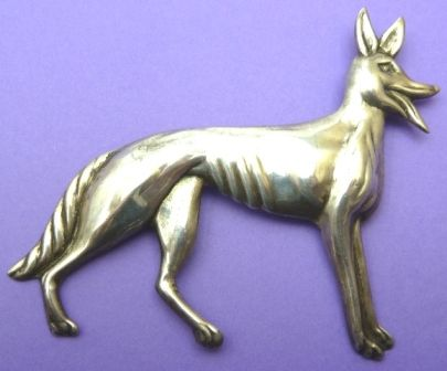 Mexican silver dog brooch - very large.  Photographed by Gillian Horsup. #MexicanSilverDogBrooch #MexicanSilverBrooch #VintageDogBrooch #VintageSilverDogBroochLarge