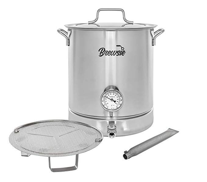Brewsie Stainless Steel Home Brew Kettle W Dual Filtration Equip With False Bottom Thermometer And Ball Valve For B Home Brewing Brewing Equipment Steel House