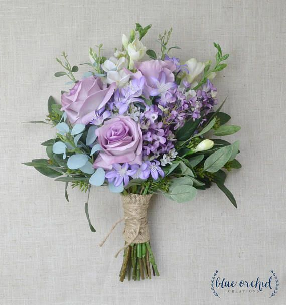 Each Of Our Wedding Bouquets Is Made With High Quality Silk Artificial Flowers And Elemen Flower Bouquet Wedding Diy Wedding Flowers Purple Wedding Bouquets
