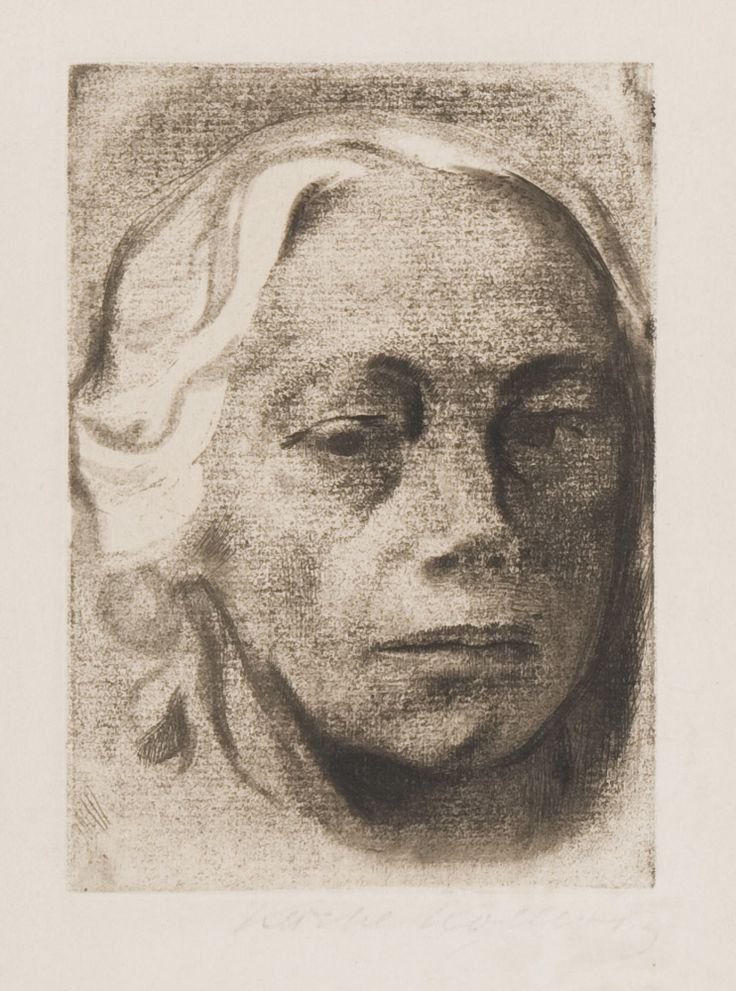 "Käthe Kollwitz (German, 1867 – 1945) / ""Selbstbildnis (Self Portrait),"" 1912 / Soft-ground etching on paper / Des Moines Art Center Permanent Collections; Gift of Mrs. Edward Frankel, 1974.18 / Photo Credit: Rich Sanders, Des Moines"