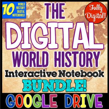 World History DIGITAL Interactive Notebook Bundle! 10 Notebooks World History! In this World History Digital Interactive Notebook Bundle, you receive TEN interactive notebooks to teach the ancient Greeks, the Romans, the Middle Ages, the Byzantines, Feudal Japan, the ancient Chinese, Indians, World Religions, the Renaissance, and the Age of Exploration!